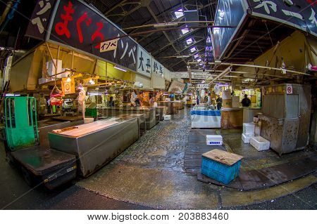 TOKYO, JAPAN JUNE 28 - 2017: Seafood for sale at the Fish Market Tsukiji wholesale in Tokyo Japan, Tsukiji Market is the biggest wholesale fish and seafood market in the world.