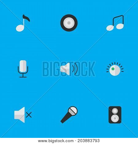 Elements Record, Music Sign, Loudness And Other Synonyms Mic, Microphone And Volume.  Vector Illustration Set Of Simple Music Icons.