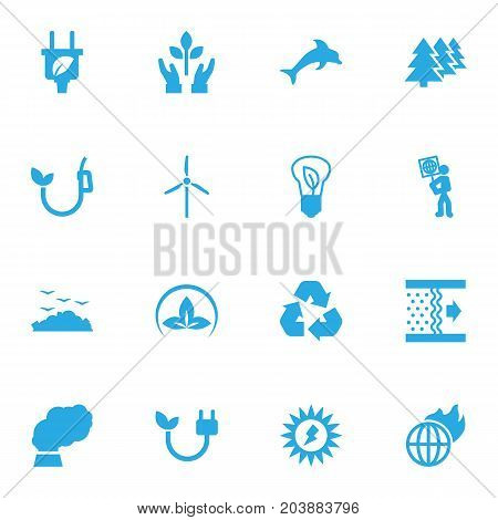Collection Of Reforestation, Rubbish, Leaf And Other Elements.  Set Of 16 Bio Icons Set.