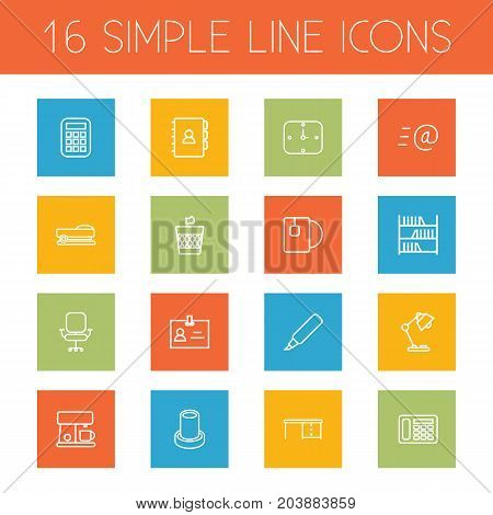 Collection Of Coffee Maker, Bookshelf, Badge Id And Other Elements.  Set Of 16 Bureau Outline Icons Set.