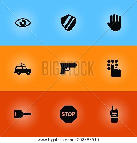 Collection Of Protection, Open, Keypad And Other Elements.  Set Of 9 Security Icons Set.