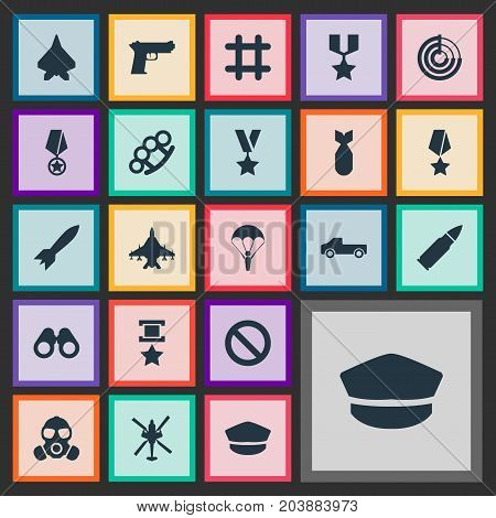 Elements Sharpshooter, Gun, Shot And Other Synonyms Prison, Bomber And Orden.  Vector Illustration Set Of Simple War Icons.