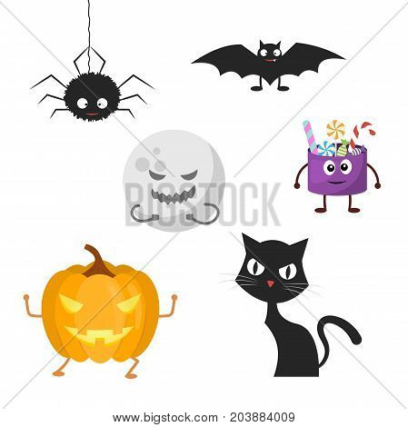 Set of characters for Halloween. Vector illustration in a flat style.