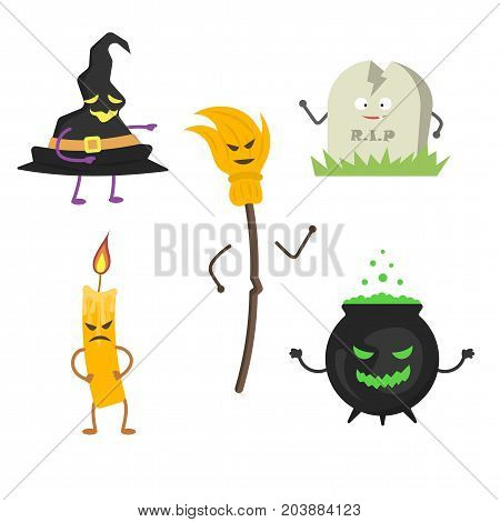Set of characters for Halloween 2. Vector illustration in a flat style.