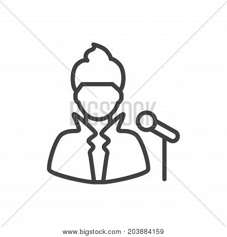Vector Singer Element In Trendy Style.  Isolated Vocalist Outline Symbol On Clean Background.