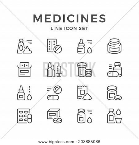 Set line icons of medicines isolated on white. Vector illustration