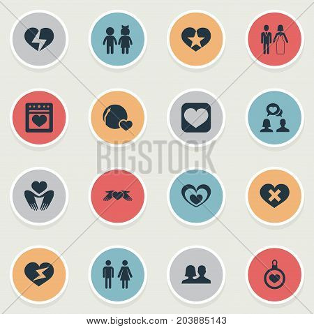Elements Flash, Lovers, Broken Soul And Other Synonyms Heart, Favorite And Darling.  Vector Illustration Set Of Simple Wedding Icons.