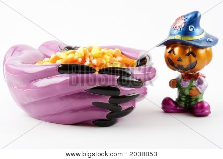 Pumpkin With Candy Bowl