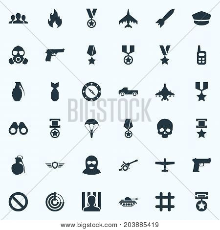 Elements Prison, Terrorist, Grenade And Other Synonyms Forbidden, Weapons And Prison.  Vector Illustration Set Of Simple Battle Icons.