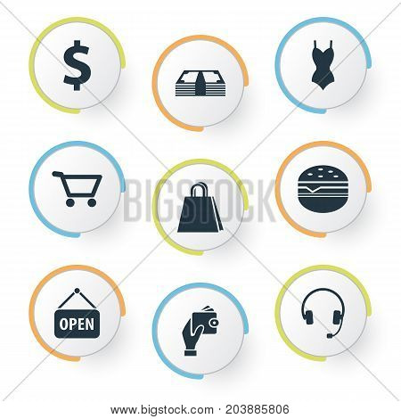 Elements Fast Food, Dollar, New Item And Other Synonyms Holding, E-Commerce And Electronics.  Vector Illustration Set Of Simple Shopping Icons.
