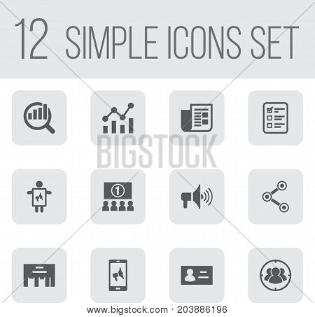 Collection Of Auditorium, Market, Man With Banner And Other Elements.  Set Of 12 Trade Icons Set.