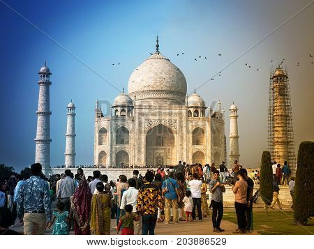 AGRA,INDIA - November 16,2016 : Taj Mahal is a marble tomb with a legend of love. On holiday a lot of people visit this place.