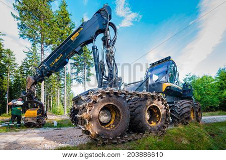 Karpacz Poland - August 17/2017; Forest cutting. Timber harvester. Forest cutting with the help of a harvester. Worker servicing the machine after harvest