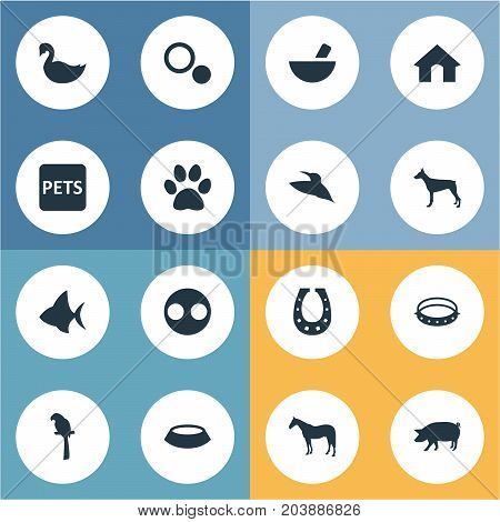 Elements Doghouse, Circle, Luck Talisman And Other Synonyms Livestock, Circle And Parrot.  Vector Illustration Set Of Simple Wild Icons.