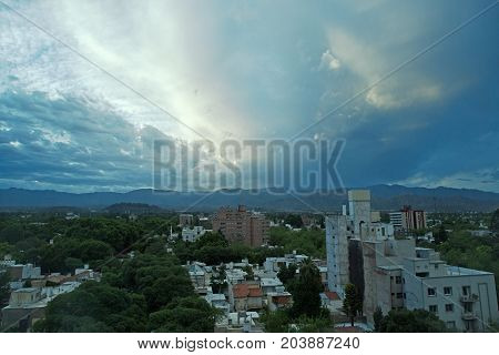 Stormy Evening view of Mendoza city, Argentina