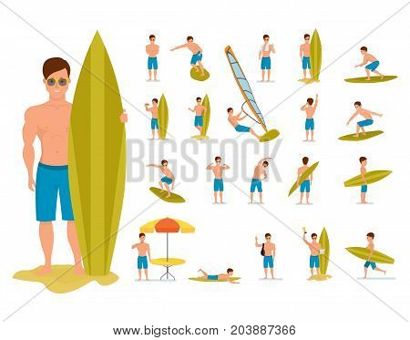 Character person surfer man. Surfer set in various poses and situations. Summer vacation on the sea and the beach. Recreational beach water sport. Surf travel. Character person. Vector illustration isolated in cartoon style.