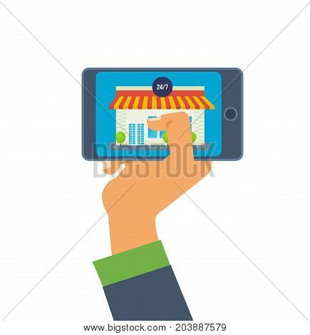 Hand holds the phone. Online store on the smartphone. Mobile applications. Online order in online store, supermarket. Vector illustration isolated on white background.