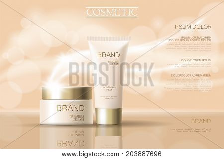 Realistic Delicate Cosmetic Ads Banner Template. 3D Detailed Beige Tube Golden Design Commercial Pro