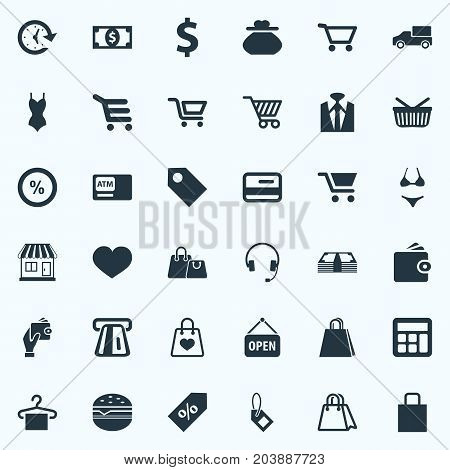 Elements Atm, New Item, E-Commerece And Other Synonyms Truck, Delivery And Shopping.  Vector Illustration Set Of Simple Basket Icons.
