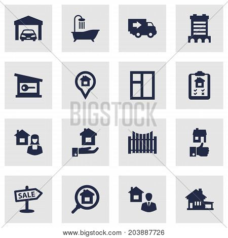 Collection Of Real Estate Agent, Home, Like And Other Elements.  Set Of 16 Estate Icons Set.