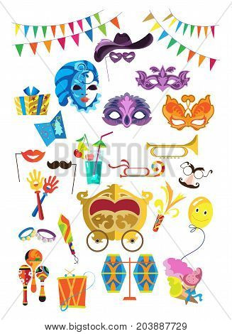 Set of carnival, masquerade, party and festive accessories. Masquerade decorative masks and decorations, gifts, costumes, musical instruments, festive accessories. Vector illustration isolated.
