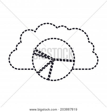 cloud storage data service icon and available space circular graphic in monochrome and dotted silhouette vector illustration
