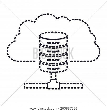 cloud and network server storage icon in monochrome silhouette dotted vector illustration
