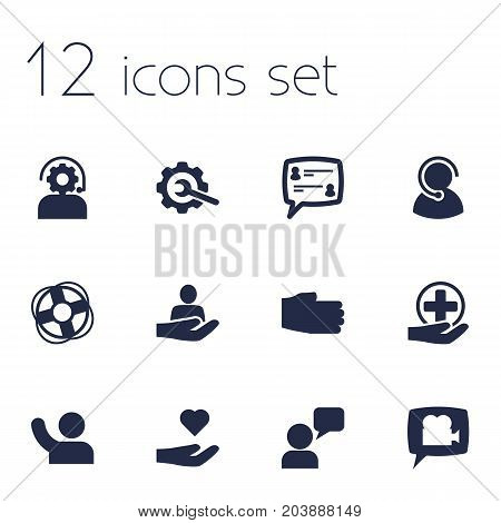 Collection Of Blog, Safe Ring, Undertake And Other Elements.  Set Of 12 Backing Icons Set.