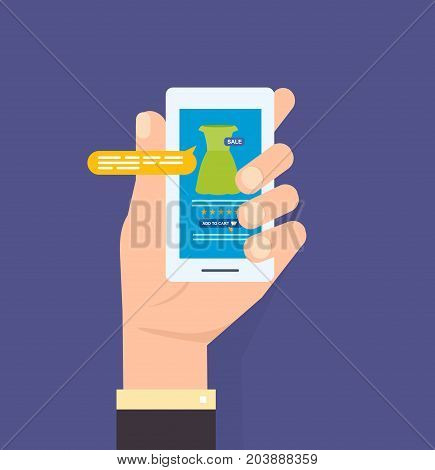 Hand holds the smartphone. Online store on the smartphone. Mobile applications. Online order in online store, supermarket. Vector illustration isolated on white background.