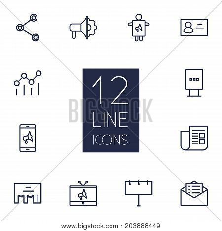 Collection Of Direct Message, Worker, Social Media Ads And Other Elements.  Set Of 12 Trade Outline Icons Set.