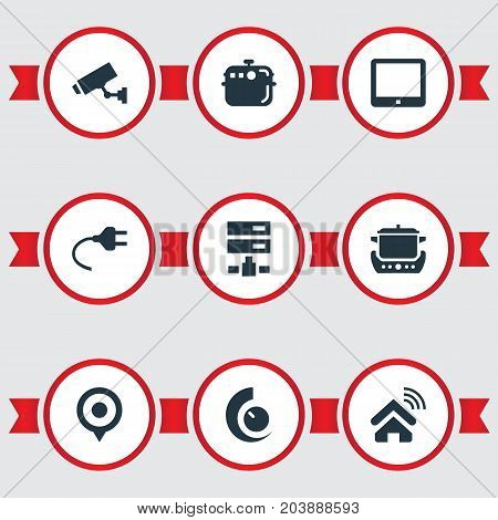 Elements Oven, Datacenter, Electric Stove And Other Synonyms Home, Smart And Location.  Vector Illustration Set Of Simple Smart Icons.