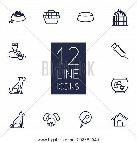 Collection Of Vaccination, Bird Prison, Kennel And Other Elements.  Set Of 12 Pets Outline Icons Set.