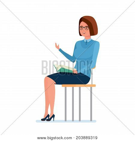 Modern teaching and education system. Teacher sitting on chair and holding book in hands, explains school material to her audience. Teaching on lesson in classroom. Vector illustration.