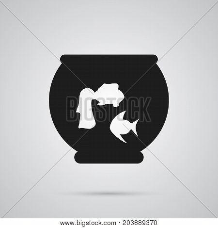 Vector Fishbowl Element In Trendy Style.  Isolated Aquarium Icon Symbol On Clean Background.