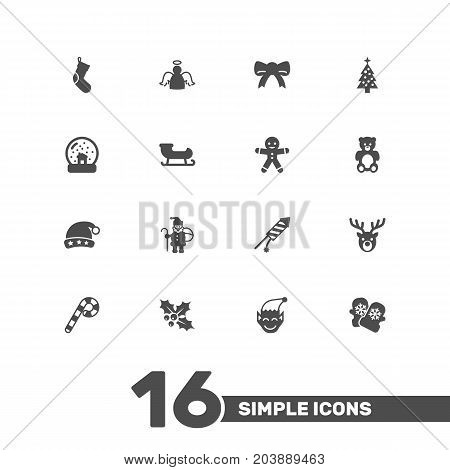 Collection Of Mitten, Gnome, Firework And Other Elements.  Set Of 16 Holiday Icons Set.