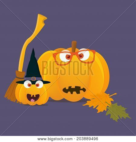 Vector illustration: halloween pumpkins mascots. Pumpkin or squash faces with witch broom and wizard hat. Great for Halloween, known as Allhalloween, All Hallows' Evening or All Saints' Eve.