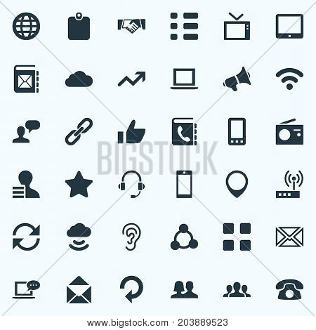 Elements Smartphone, World, Cv And Other Synonyms Position, Telephone And Cellphone.  Vector Illustration Set Of Simple Social Icons.
