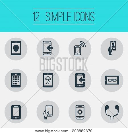 Elements Numbers, Hearing, Inbounding And Other Synonyms Incoming, Gadget And Ear Muffs.  Vector Illustration Set Of Simple Telephone Icons.