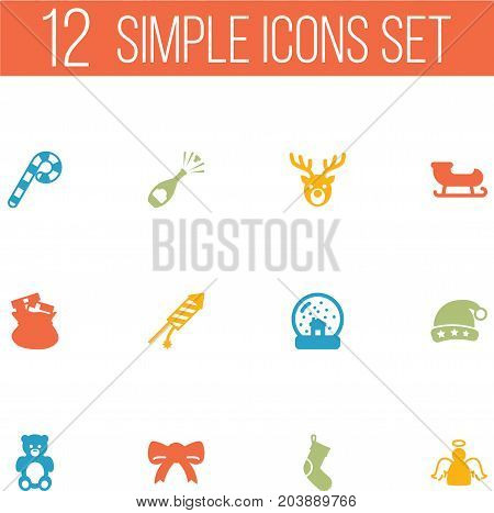 Collection Of Socks, Bear, Sack And Other Elements.  Set Of 12 New Icons Set.