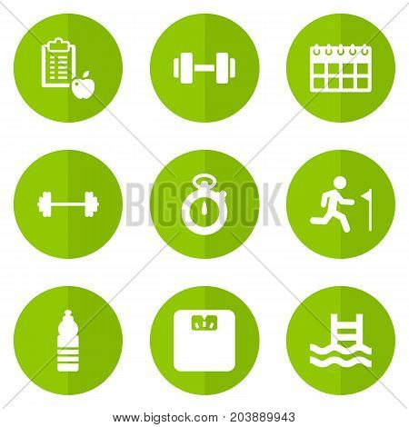 Collection Of Dumbbell, Running, Drink And Other Elements.  Set Of 9 Training Icons Set.