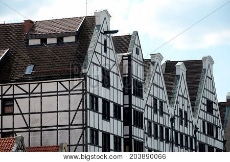 Buildings of the timber framing in Gdansk, Poland