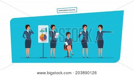 Businesswoman in office work situations. Statistical research, marketing, planning, analysis, presentation of company's position. Womens character working in office. Cartoon vector illustration