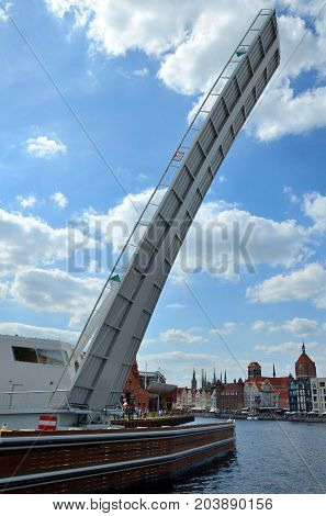 Pedestrian footbridge at Motlawa, Gdansk in Poland