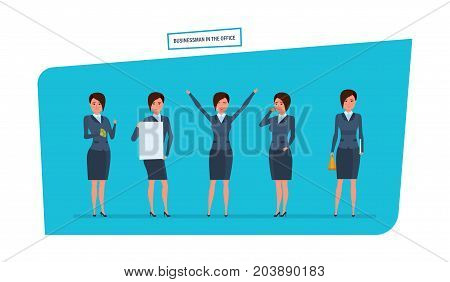 Businesswoman in office work situations concept. Work with documents, archives, projects, analysis, statistics, research. Womens character working in office. Cartoon vector illustration
