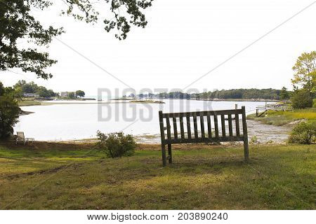 solitary wooden bench overlooking a cove with tress and shrubs