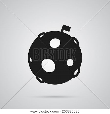 Vector Lunar Element In Trendy Style.  Isolated Moon Icon Symbol On Clean Background.
