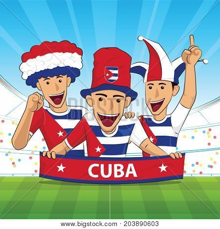 cuba Flag. Cheer football support Vector illustration.