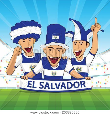 el salvador Flag. Cheer football support Vector illustration.