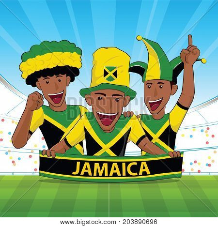 jamaica Flag. Cheer football support Vector illustration.