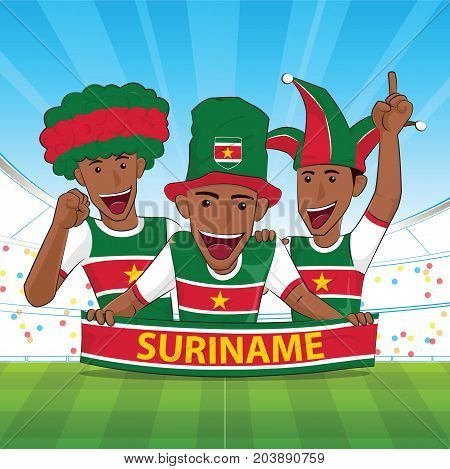 suriname Flag. Cheer football support Vector illustration.